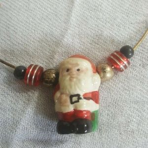 Vintage Santa Clause Sterling Silver Necklace 925